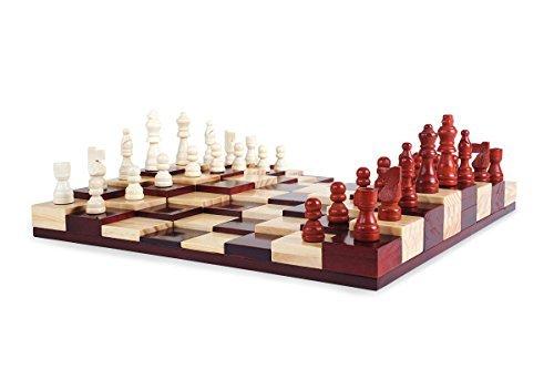 Multi-Level Holz Schachspiel Set: 3D Schachbrett + 32 Schachfiguren - Deluxe Brettspiel