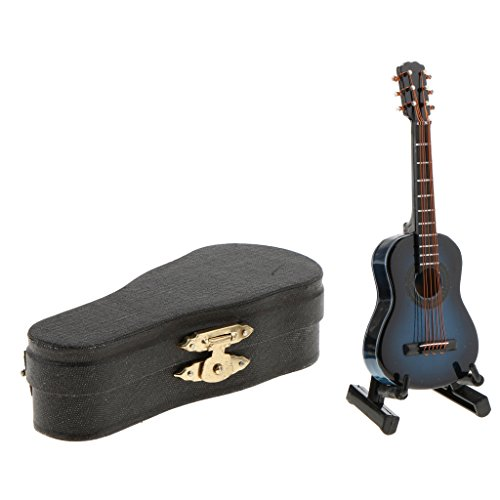Gazechimp Miniatur Musikinstrument Hölzerne Gitarre & Box & Displayständer für 1/12 Puppenhaus Puppenstube Dekoration