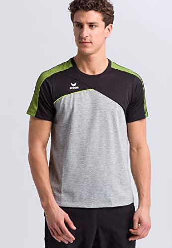 Erima Herren Premium One 2.0 T-Shirt, grau Melange/Schwarz/Lime pop, L