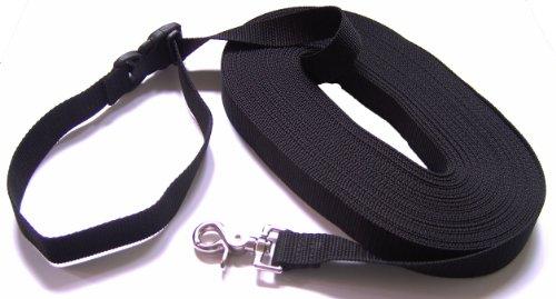 Schleppleine mit LÖSBARER Handschlaufe - Basis 20 Meter (schwarz; 25 mm breit) von DOGS and MORE aus Berlin