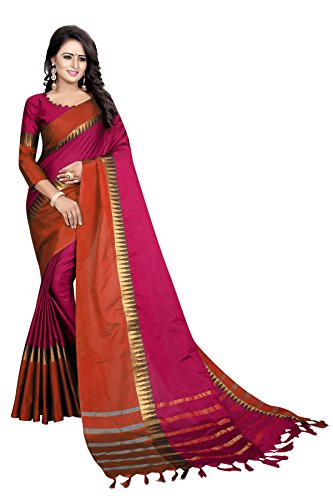 Perfectblue Women's cotton Silk Saree With Blouse Piece (PinkOrangeTeample)