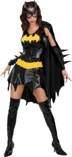 Batgirl Comic Kostüm, knapp und sexy, schwarz glänzend, günstiges Komplettkostüm - S