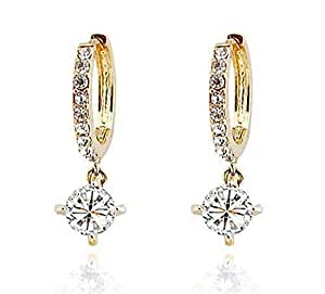 Laskey® Swarovski Elements Ladies Gold Loop Earrings with Austrian Crystal For Women Christmas Promotion