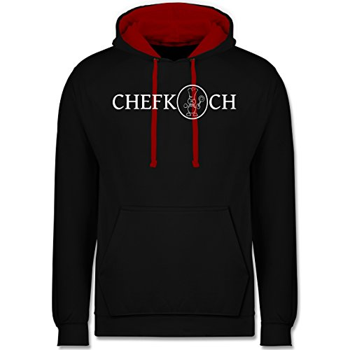 Küche - Chefkoch - Kontrast Hoodie Schwarz/Rot