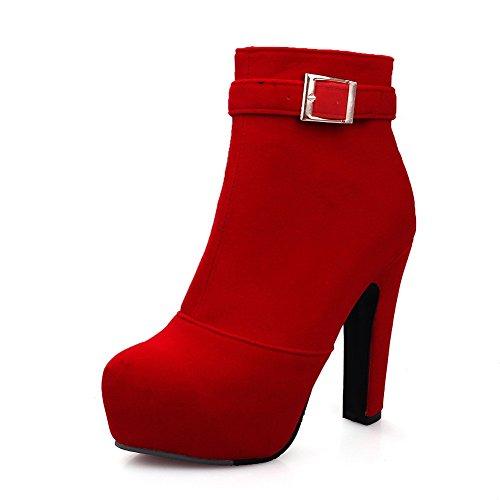 VogueZone009 Donna Bassa Altezza Puro Cerniera Tacco Alto Stivali con Metallo, Rosso, 40