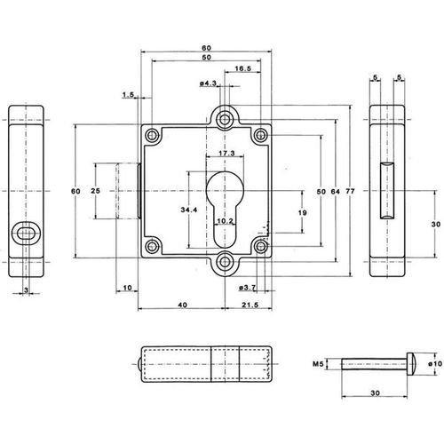 5 Stück Aufschraub-Riegelschloss 7407 PZ Rechts/Links verwendbar 40 mm 7407 40002