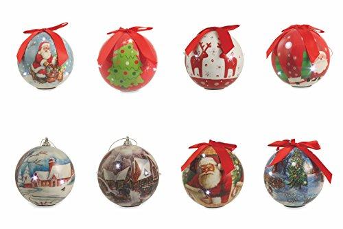 Galileo Casa - Surtido de bolas de Navidad LED, de poliestireno, multicolor,...