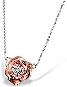 Goldmaid Damen-Halskette Lovely Rosè 925 Sterlingsilber vergoldet gesetzt mit einem weißen 1 Swarovski Zirkonia...