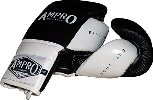 Ampro-Madison-MKII-encaje-hasta-guantes-de-boxeo-negroblanco-18-onzas
