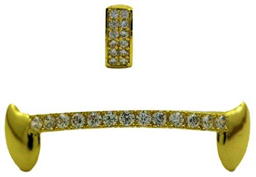 24K Gold überzogen Iced Out Grillz mit CZ Diamanten und Top Ring
