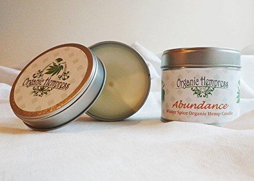Organic Hempress Abundance Hemp Winter Spice Aromatherapy Soy Wax Candle 100% Natural...