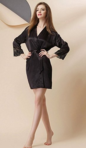 Aivtalk Pyjama Kimono Femme Peignoir Robe de Chambre Bain Dentelle Satin Lingerie Elégant Nuisette Vêtement de nuit Sexy en Soie Imitant Taille Unique 36-44 Noir Bleu Rose Rouge Nude Noir