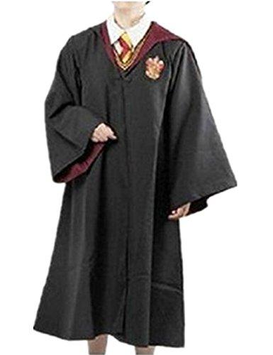 Ninimour Gryffindor Ravenclaw Slytherin Hufflepuff Erwachsene Kinder Mantel Robe Kleider Kostüme Schwarz L (Gryffindor Mädchen Kostüm)