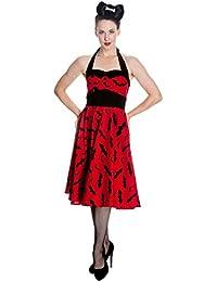 Robe dos-nu années 50 Hell Bunny Rockability chauve-souris produit de marque robe balancée rouge noir
