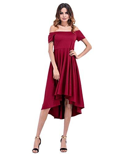 Modetrend Femmes Robe de Soirée de Mariage Cocktail Club Manche Courte Épaule Off Bandeau Rockabilly Skater Mini Jupe Rouge