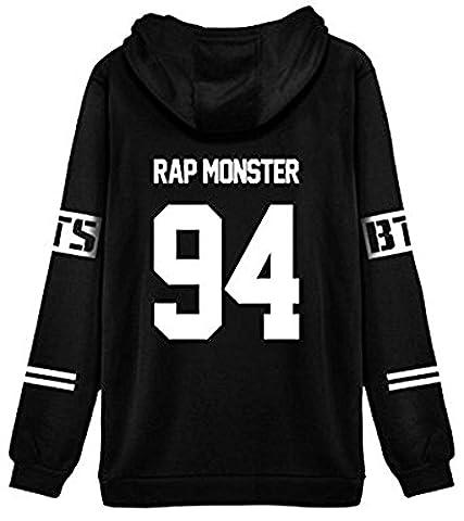 ShallGood Femme Automne Mode BTS Fans Sweats à Capuche à Manches Longues Varsity Rayé Encapuchonné Sweatshirt Décontractée Hooded Chemisiers Tops RAP MONSTER-94 Blanc FR 42