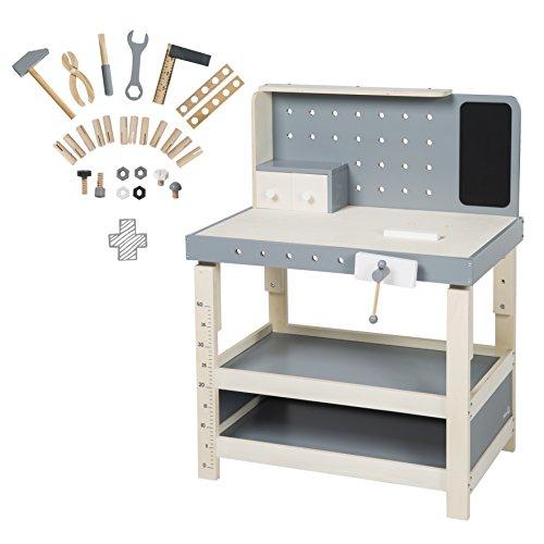 roba Werkbank, Spielwerkbank aus Holz, umfangreiches Werkzeug-Set, große Arbeitsplatte, Ablage, 3 Schubfächer, mitwachsend, höhenverstellbar, ab 3 Jahren