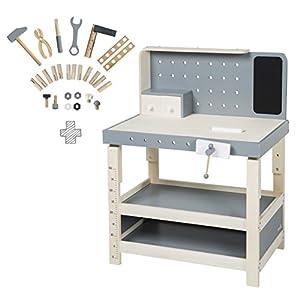 Mesa de trabajo roba, banco de trabajo de madera, con gran cantidad de herramientas, banco de trabajo grande, estante, 3 cajones,  ajustable en altura, utilizable a partir de 3 años
