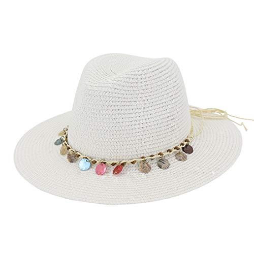 Strandmütze Strohhut für Damen und Mädchen Damen Stroh Sonnenhut breiter Krempe Floppy Hat Hut (Farbe : White, Size : Adjustable) (Floppy-hut)
