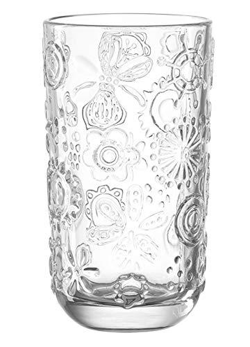 Leonardo Fiorita Becher groß, 6-er Set, 370 ml, Höhe 14 cm, Durchmesser 7,5 cm, Klarglas, 037795 Soft-drink-glas