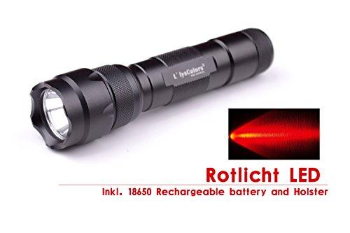 L\'LYSCOLORS - ROTLICHT LED Taschenlampe Inkl. 18650 Akku und Holster
