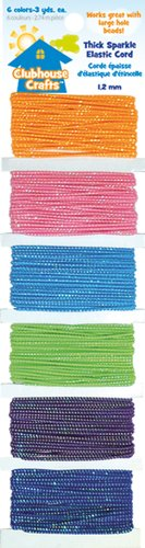 Clubhouse-Crafts-Elastic-Cord-Thick-Sparkle-3yd-Each-Of-6-Colors