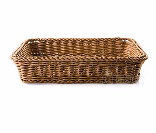 SQUEEQEES Nachahmung Rattan Gewebe Kunststoff. rechteckig Küche Brot Snack Korbflechten Warenkorb Aufbewahrungsboxen 40 * 28.5 * 7 cm