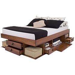 Lit Multifonction Bali 160x200, Queen Size, Caramel, avec Beaucoup d'Espace de Rangement et des tiroirs; Le sommier à Lattes est Compris dans Le Prix.