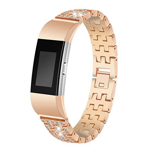 Waotier für Fitbit Charge2 Armband Damen Edelstahl Armband Diamant Strasssteine Armband Verstellbare Ersatzarmband Damen Uhrenarmband Armband für Fitbit Charge 2 Armband mit Schnellverschluss (Gold)
