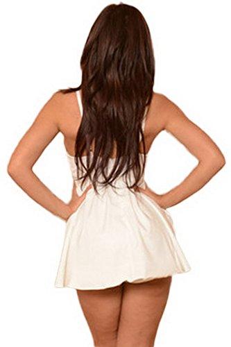 Smile YKK Combinaison Femme Short Sexy Col V Profond Eté Mode Blanc