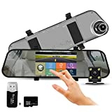 In Car Dash Cam Night Vision Mirror Camera 5 Inch IPS Touch Screen