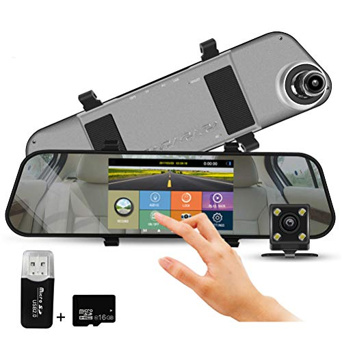 In Car Dash Cam Night Vision Mirror Camera 5 Inch IPS Touch Screen 1296P Full HD Dual Lens 170° Wide Angles Car Video Recorder Front and Rear View Camera Included 16GB SD Card