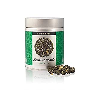 Supreme Jasmine Pearls Tea (Dragon Pearl) - 75g Tin - Hand Rolled Jasmine Tea Pearls - Grade A Loose Leaf Green Tea - Naturally Scented with Real Jasmine Blossoms