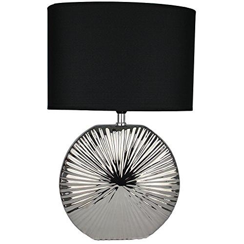 Tischlampe Leuchte 47cm Silber - schwarz   modern Tischleuchte  Leselampe Stehlampe mit schwarzem Stoffschirm   13304   Nachttischlampe (Stehlampe Schwarze Stoffschirm)
