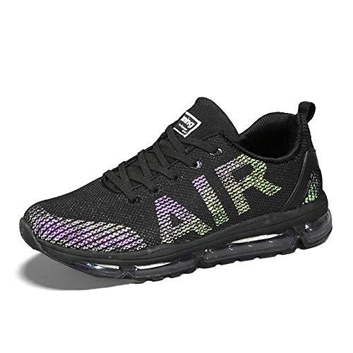 Uomo Donna Scarpe da Ginnastica Unisex Corsa Sportive Running Sneakers Casual all'Aperto(A61-BK44)