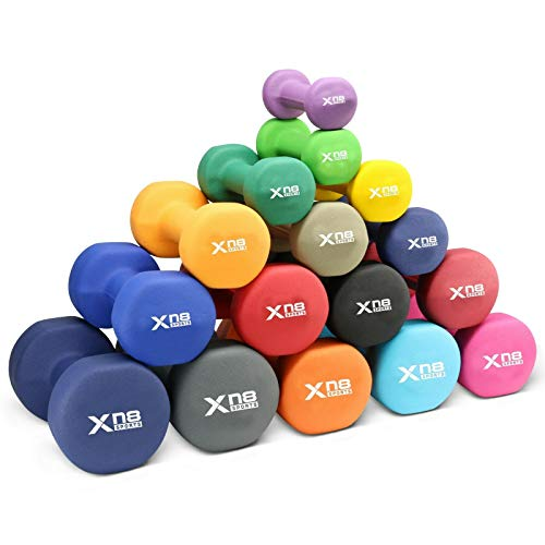 Xn8 Sports Set di manubri in Neoprene, 1 kg, 2 kg, 3 kg, 4 kg, 5 kg, 6 kg, 8 kg, 10 kg, Pesi per Aerobica, Fitness, Pilates, Colore Turchese, Set da 1,5 kg, 1,5 x 2 = 3 kg