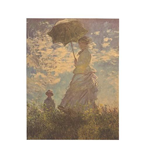 Mysterious East Frauen mit einem Sonnenschirm Ölgemälde Kraftpapier Classic Nostalgie Poster Home Decoe Wandaufkleber 47X36cm Handgemalter Pfauwandaufkleber