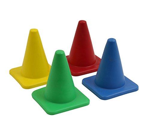 Petit cône souple et large - 10 cm - bleu - vert - rouge - jaune