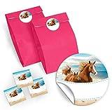 JuNa-Experten 12 Geschenktüten / rosa + 12 Aufkleber Pferde für Geschenke Mitgebseln beim Kindergeburtstag / Papierbeutel für Gastgeschenk mit Sticker
