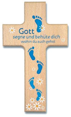 """°°2572 Kinderkreuz Holzkreuz """"Gott segne und behüte dich"""" Füße blau"""