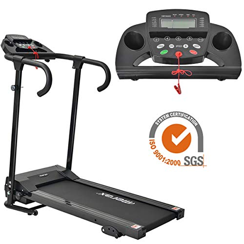 GAZE SECURITY Laufband Profi Laufbänder klappbares Fitnessgerät 1-10 km/h für Indoor Lauftraining mit einem Induktionsnotschalter Schwarz 117 x 62 x 118 cm 100kg Tragfähigkeit