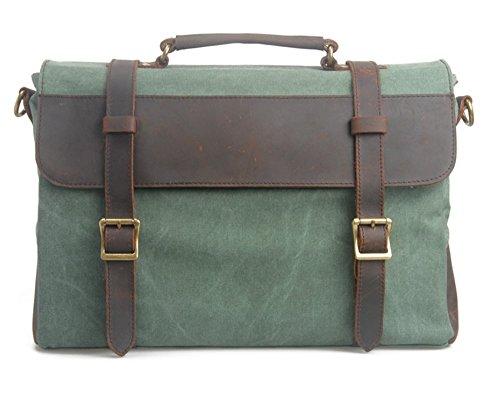 Neue Herren Männer Aktentasche Retro Canvas Schultertasche Herren und Damen schultertasche Messenger Bag School Bag Handtasche 2 Farben (real leder grün) grün