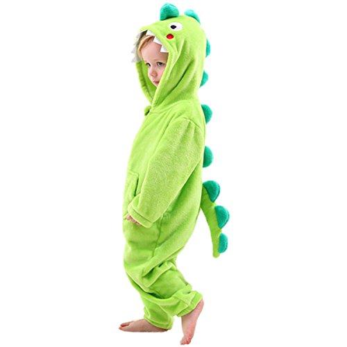 LOLANTA Drachen-Kostüm,Dinosaurier Kinder Jungen Mädchen Onesie Jumpsuit Anzug Kostüm Verkleidung - Trex Kinder Kostüm