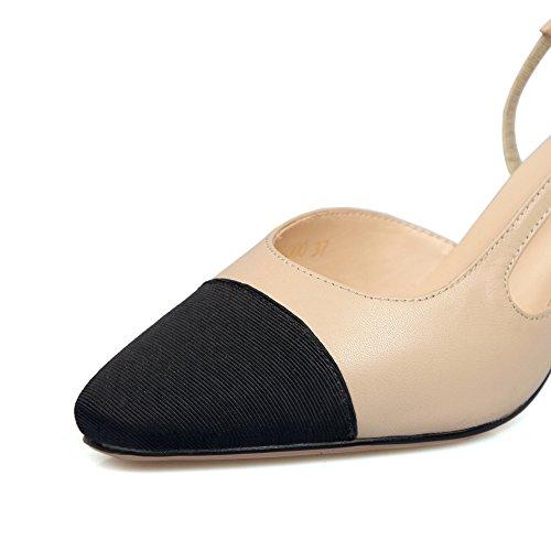 Adee Mädchen geschoben Ferse Leder Pumps Schuhe Aprikose
