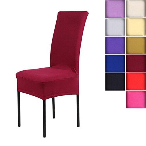 Stretch-Stuhlbezug elastische moderne Husse 11 Farben zur Wahl Hochzeit Bankette Stuhl-Abdeckung Dekorative Stuhlüberzüge(WineRed) (Hochzeit Stuhl Abdeckung)