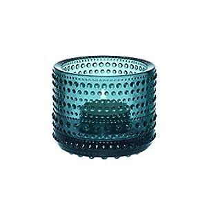 Iittala Kastehelmi - Stimmungsbeleuchtung/Teelichthalter/Windlicht - Höhe 7 cm - Seeblau
