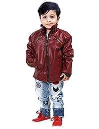 La Fashion Stylish Maroon Leather Jacket for Kids Baby