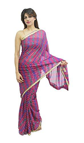 Craft Vista Women's Shimmer Saree (Purple)
