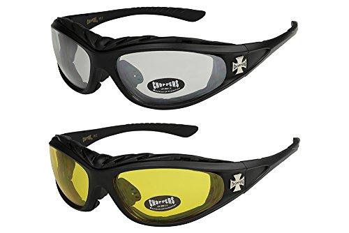 2er Pack Choppers 911 Sonnenbrillen Motorradbrille Sportbrille Radbrille - 1x Modell 02 (schwarz / annährend transparent) und 1x Modell 03 (schwarz / gelb getönt)