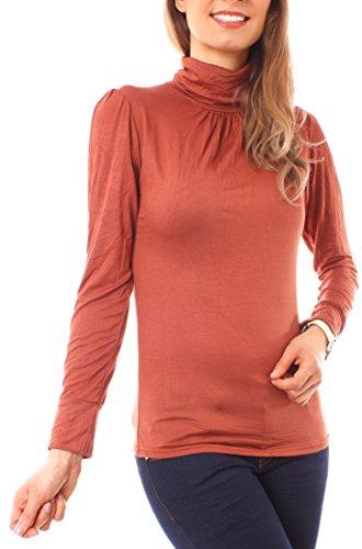 Easy Young Fashion Damen Rollkragen Shirt Uni One Size Terracotta